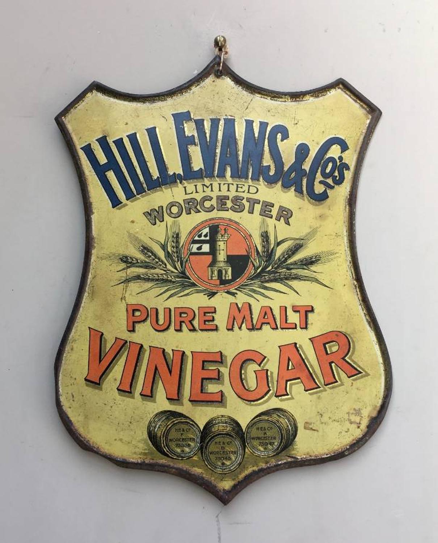 Rare Edwardian Tin Advertising Sign - Hills Evans & Co Pure Malt Vineg