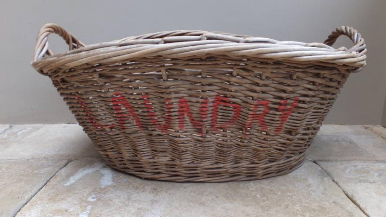Early 20thC Laundry Basket - Original Paint