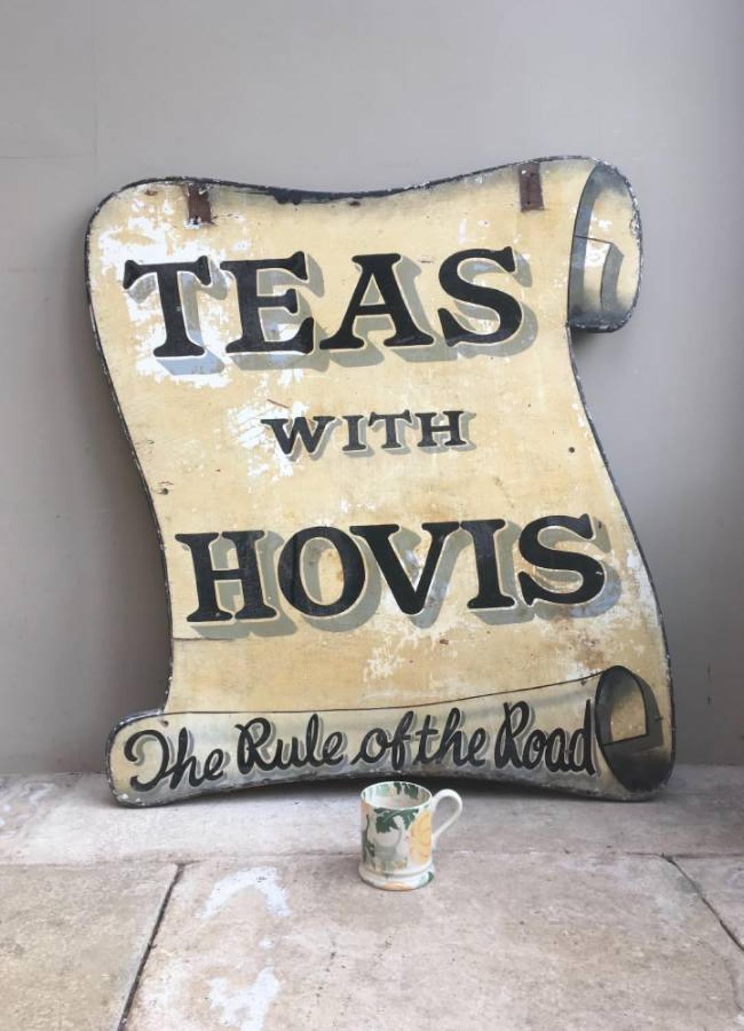 Early 20thC Large Hand Painted Advertising Sign - Teas With Hovis