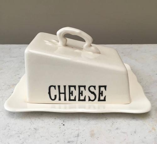 Mid Century Masons White Ironstone Cheese Dish & Stand