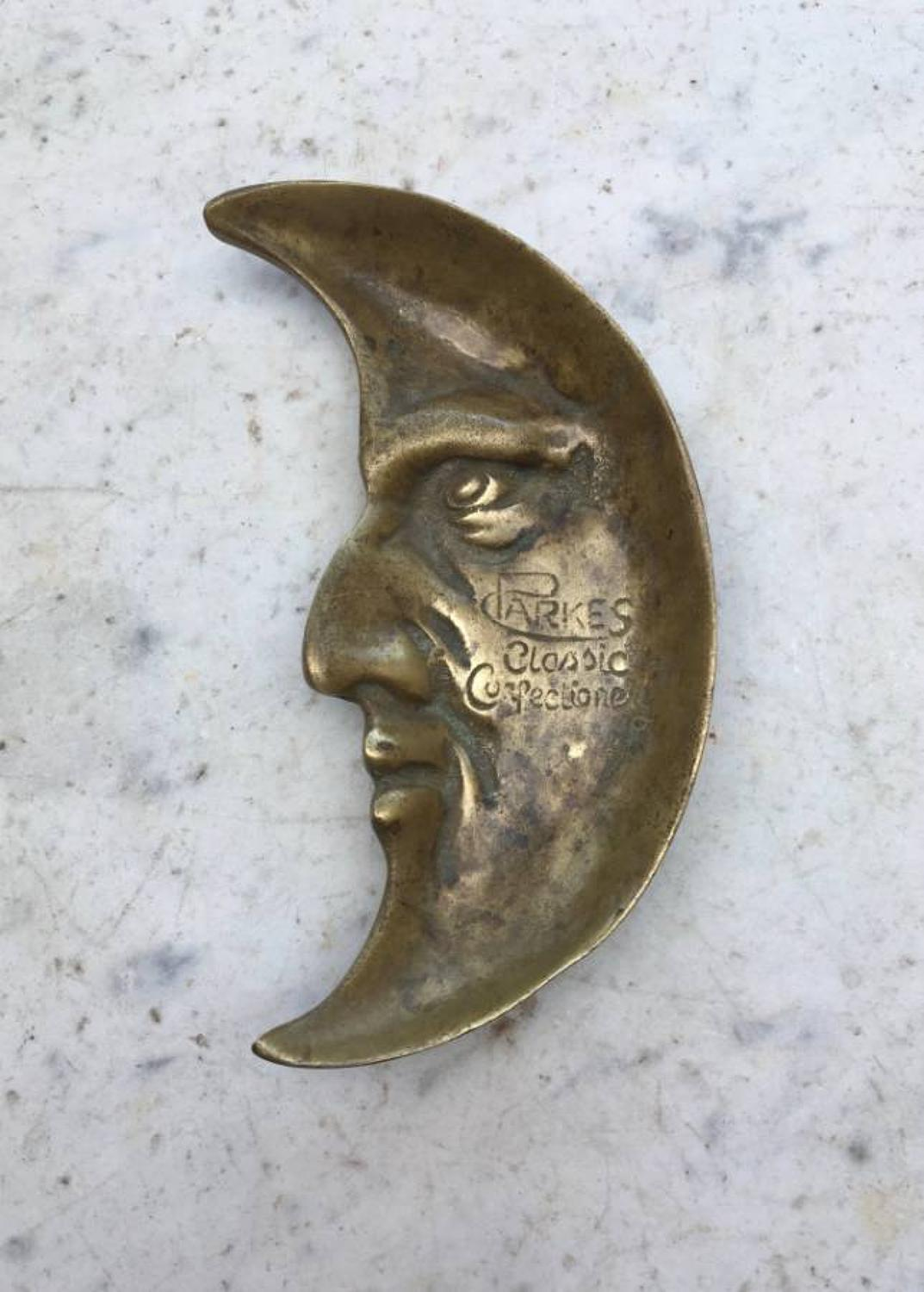 Edwardian Shops Brass Advertising Man in the Moon Change Tray - Parkes
