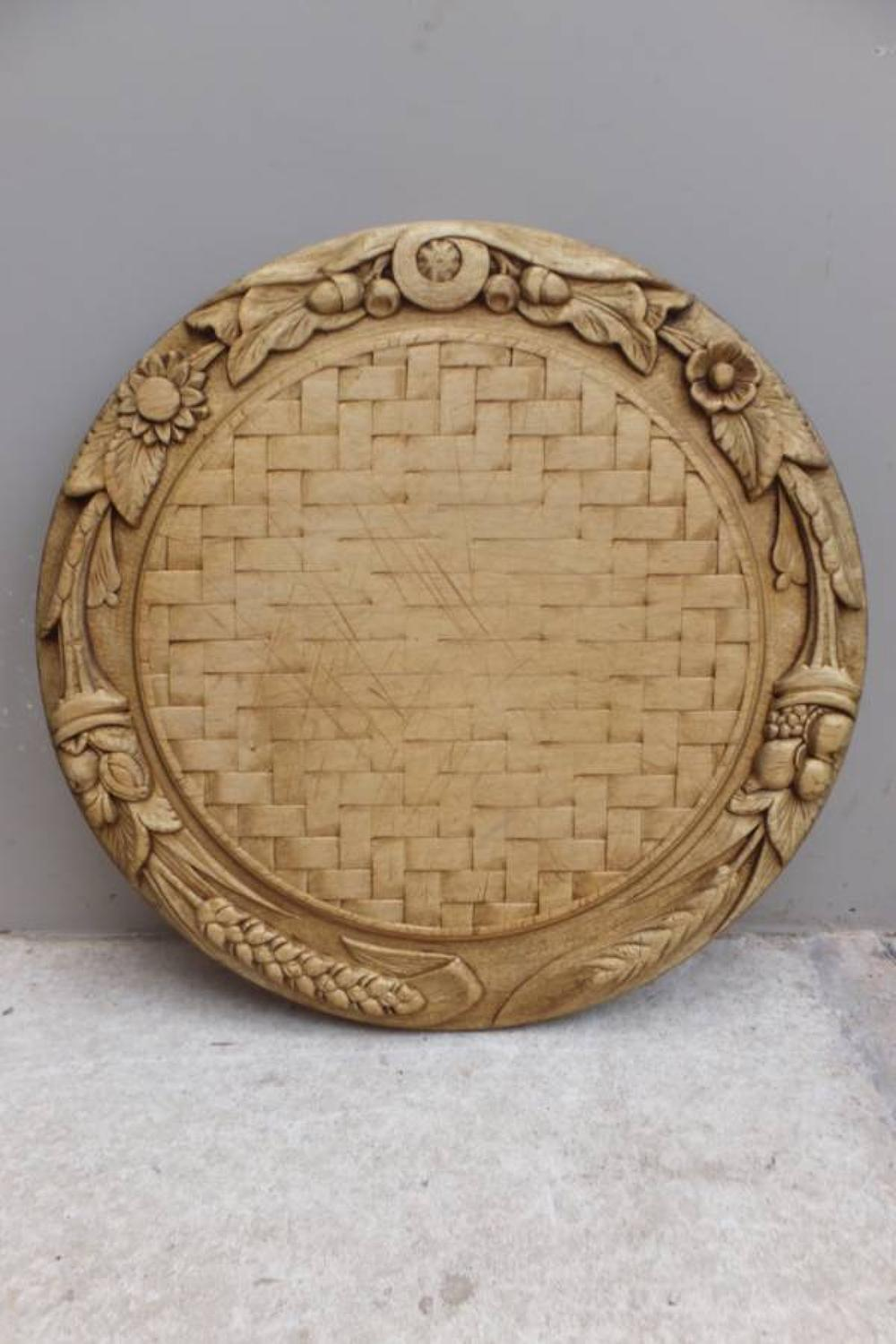 Superb Victorian Deeply Carved Bread Board with Basket Weave Centre