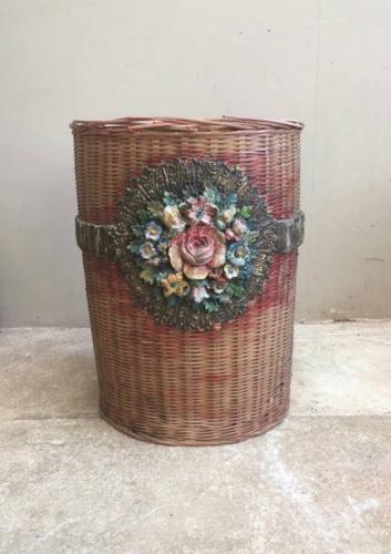 1930s Floral Banded Waste Paper Basket
