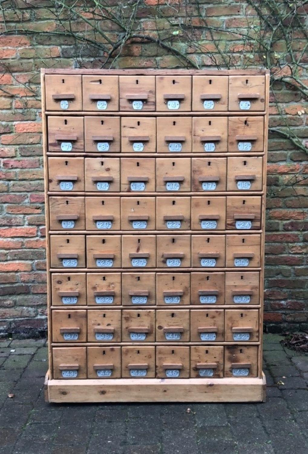 Antique Pine Bank of 48 Drawers - Originally for Shoes