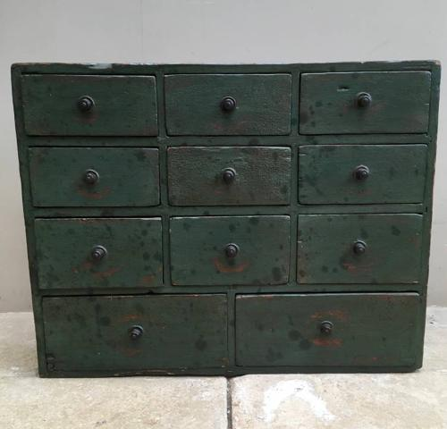 Superb Victorian Pine Bank of Eleven Seed Drawers.