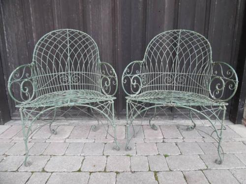 Pair of Victorian Wire Work Chairs in Original Paint