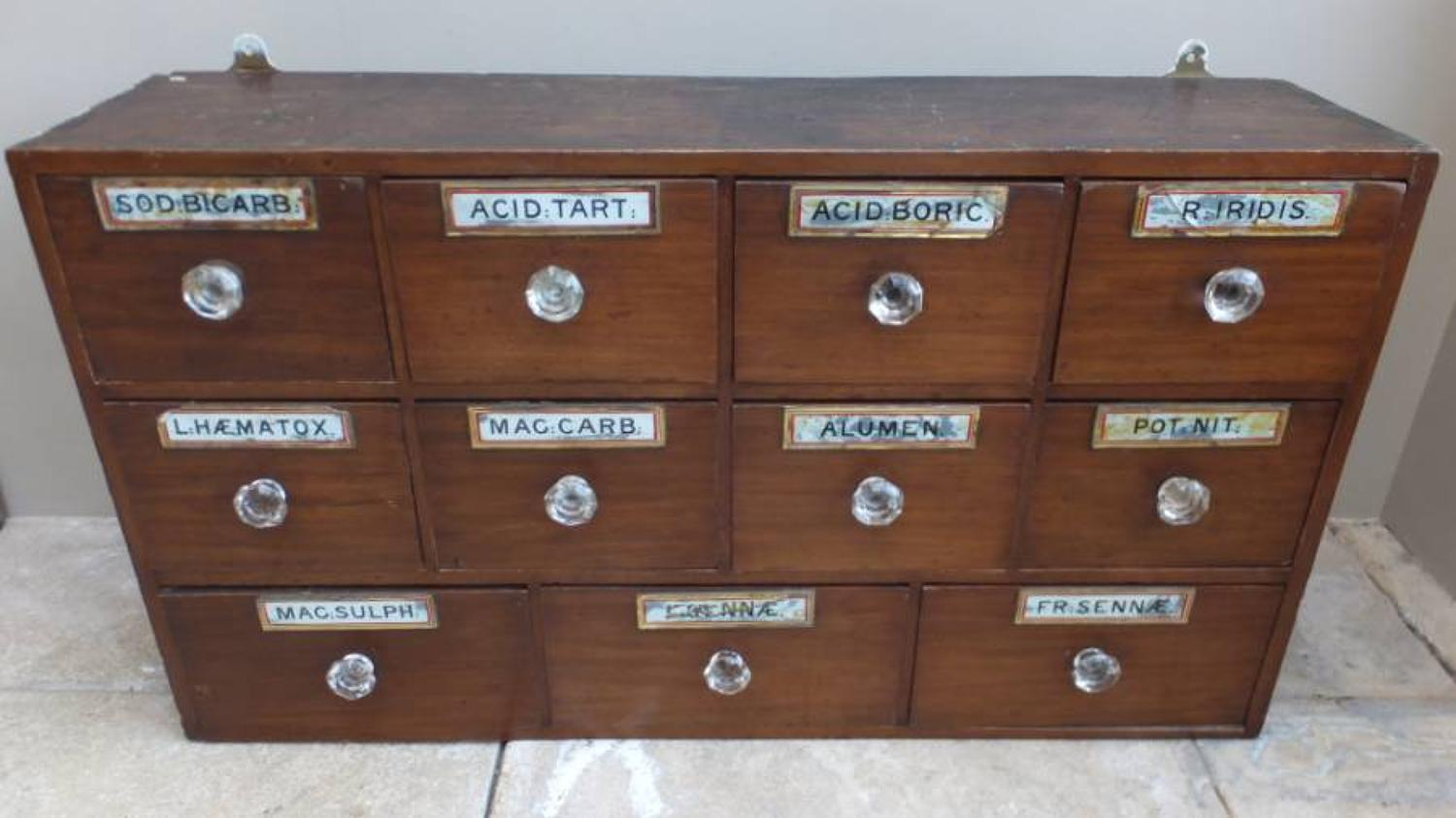 Late Victorian Pharmacists Bank of Eleven Drawers - All Original