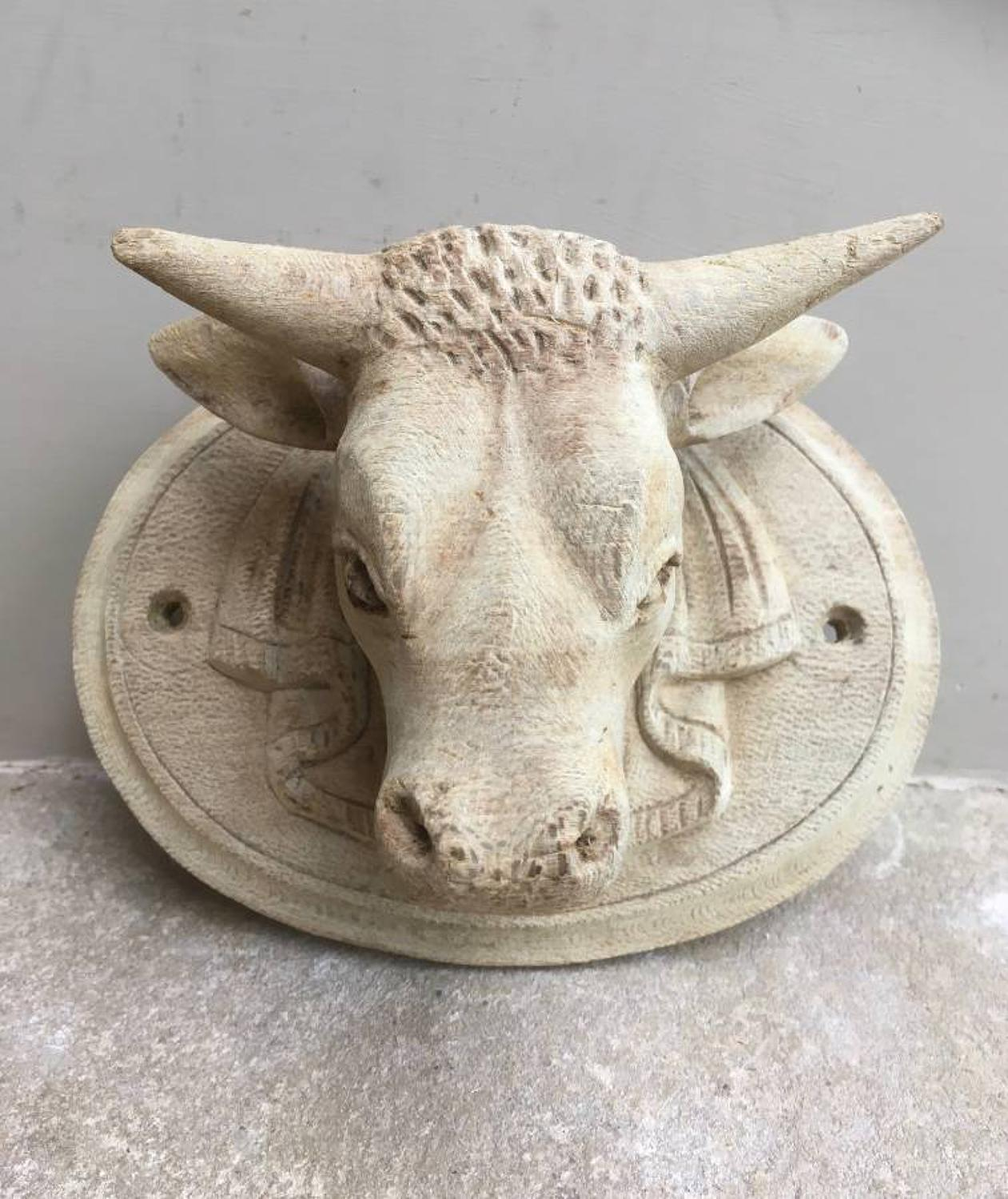 Early 20thC Hand Carved Beech Butchers Bull Plaque