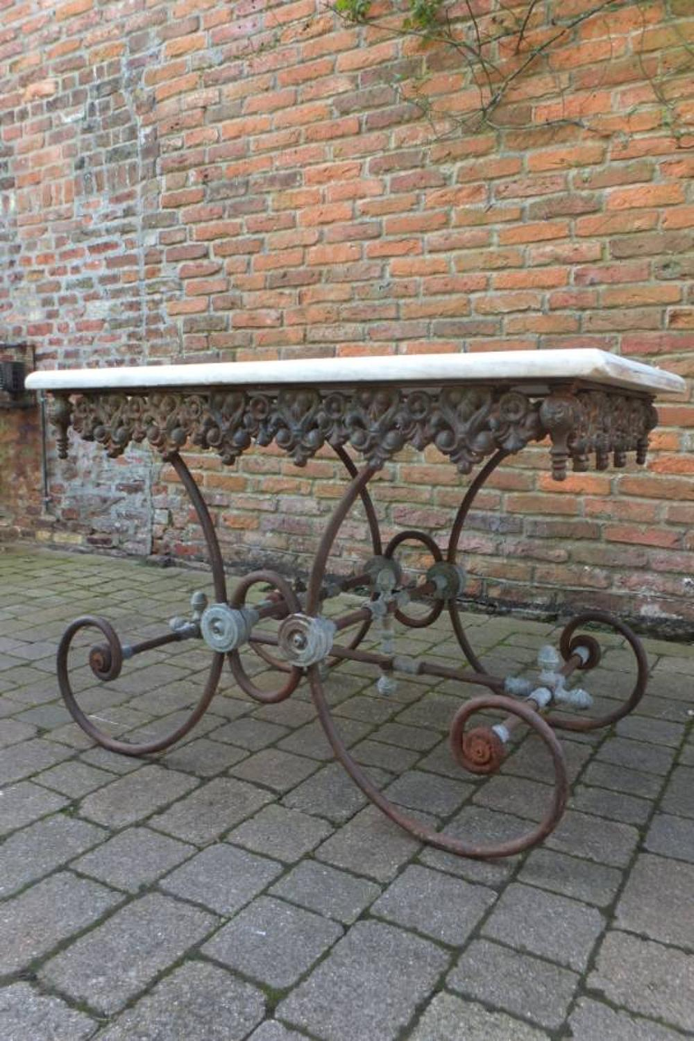 Victorian Marble Top Iron & Brass Patisserie Table
