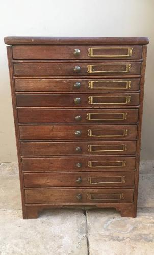 Edwardian Pine Flight of Ten Drawers