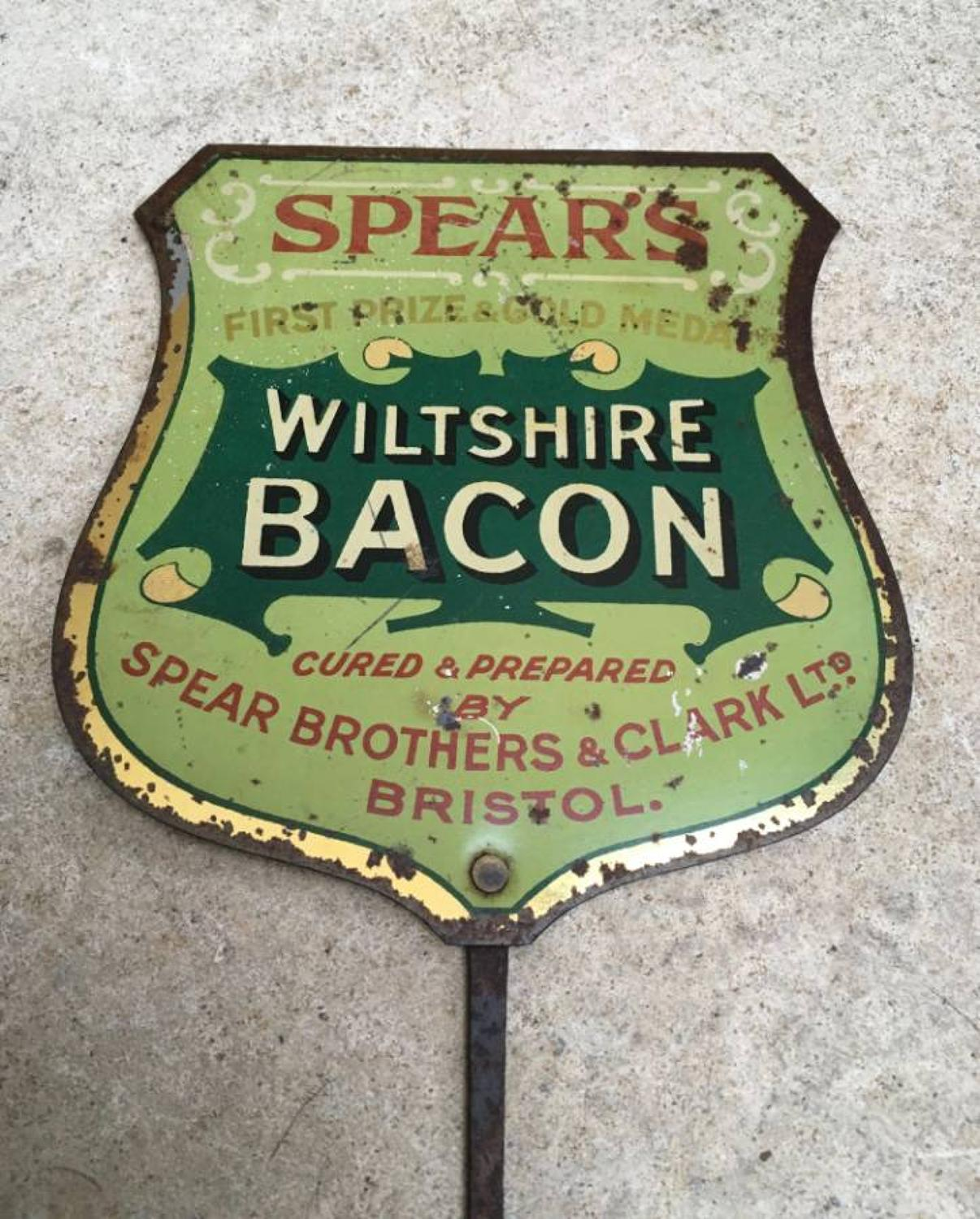 1920s Toleware Butchers Sign - Spears Wiltshire Bacon