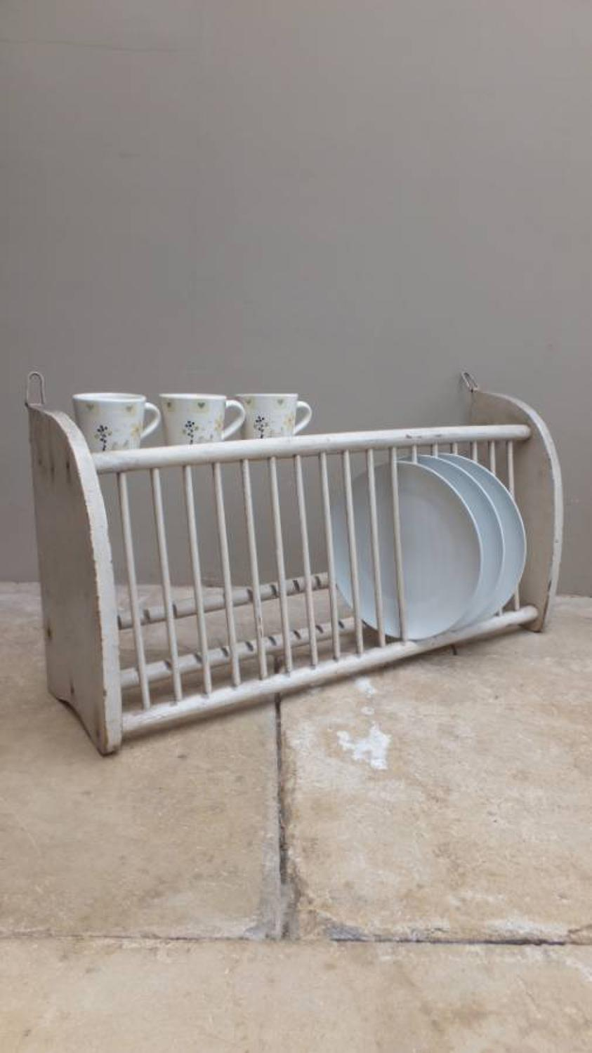 Late Victorian Pine Plate Rack in Original Paint