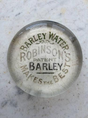 1930s Glass Advertising Paperweight - Robinsons Barley Water