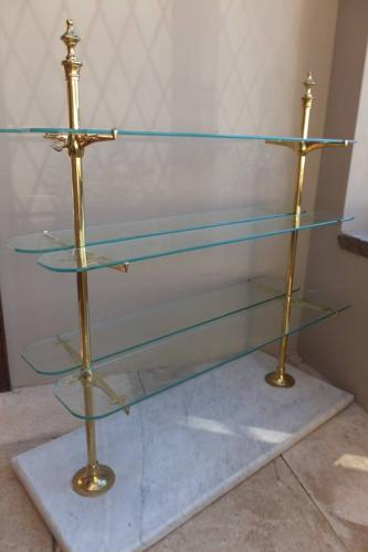Edwardian Marble Based Brass & Glass Patisserie Shelves