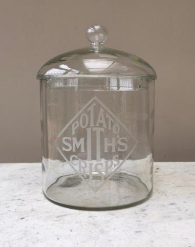 1920s Shops Counter Top Etched Glass Advertising Jar - Smiths Potato C