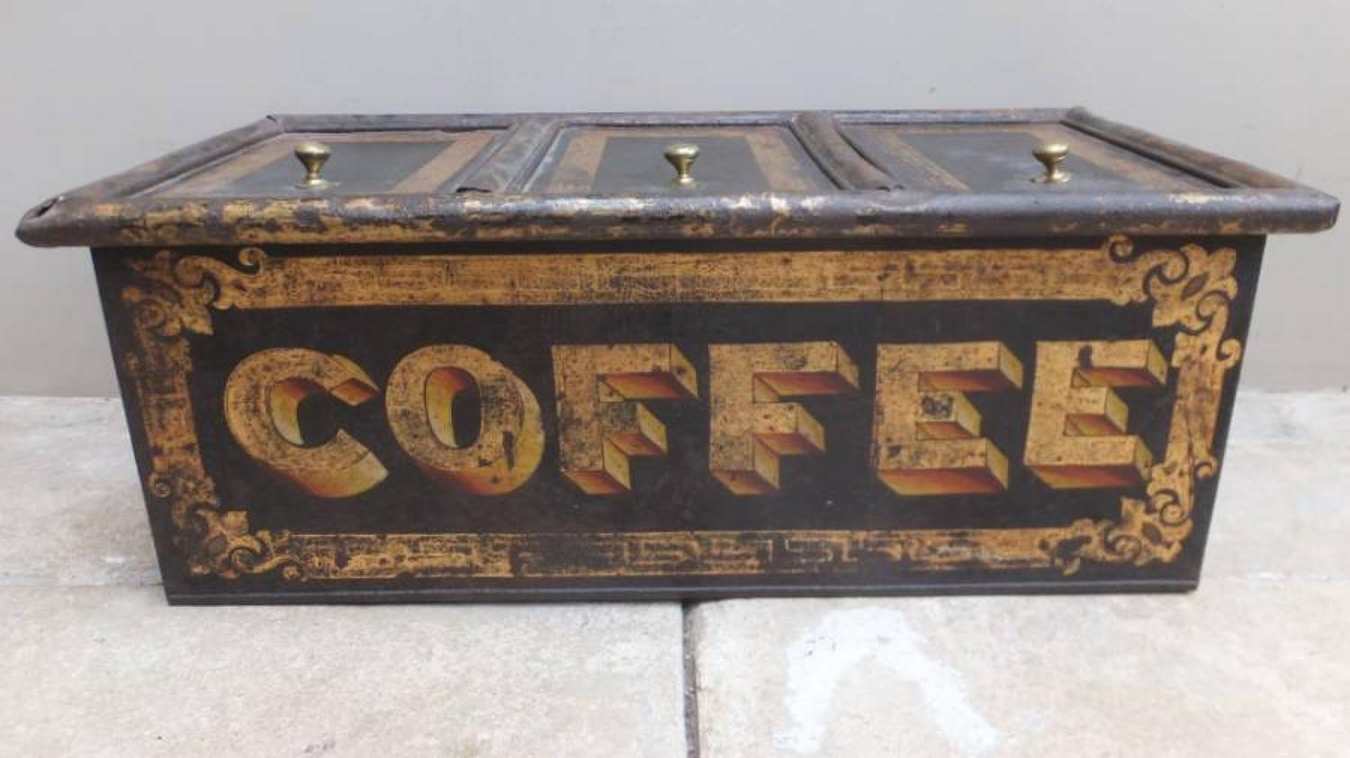 Large Victorian Shops Toleware Coffee Tin