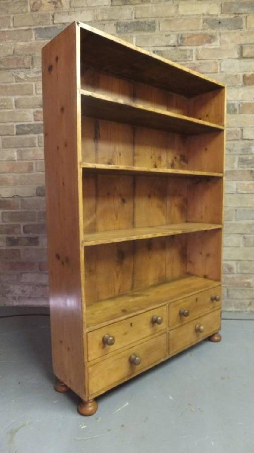 Unusual Georgian Pine Bookcase Shelves with Four Drawers