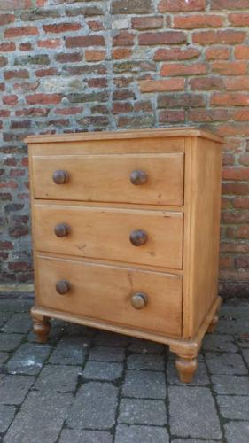 Victorian Pine Chest of Three Drawers - Perfect Kitchen Unit