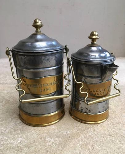 Superb Pair of Victorian Brass & Tin Milk & Cream Dairy Cans