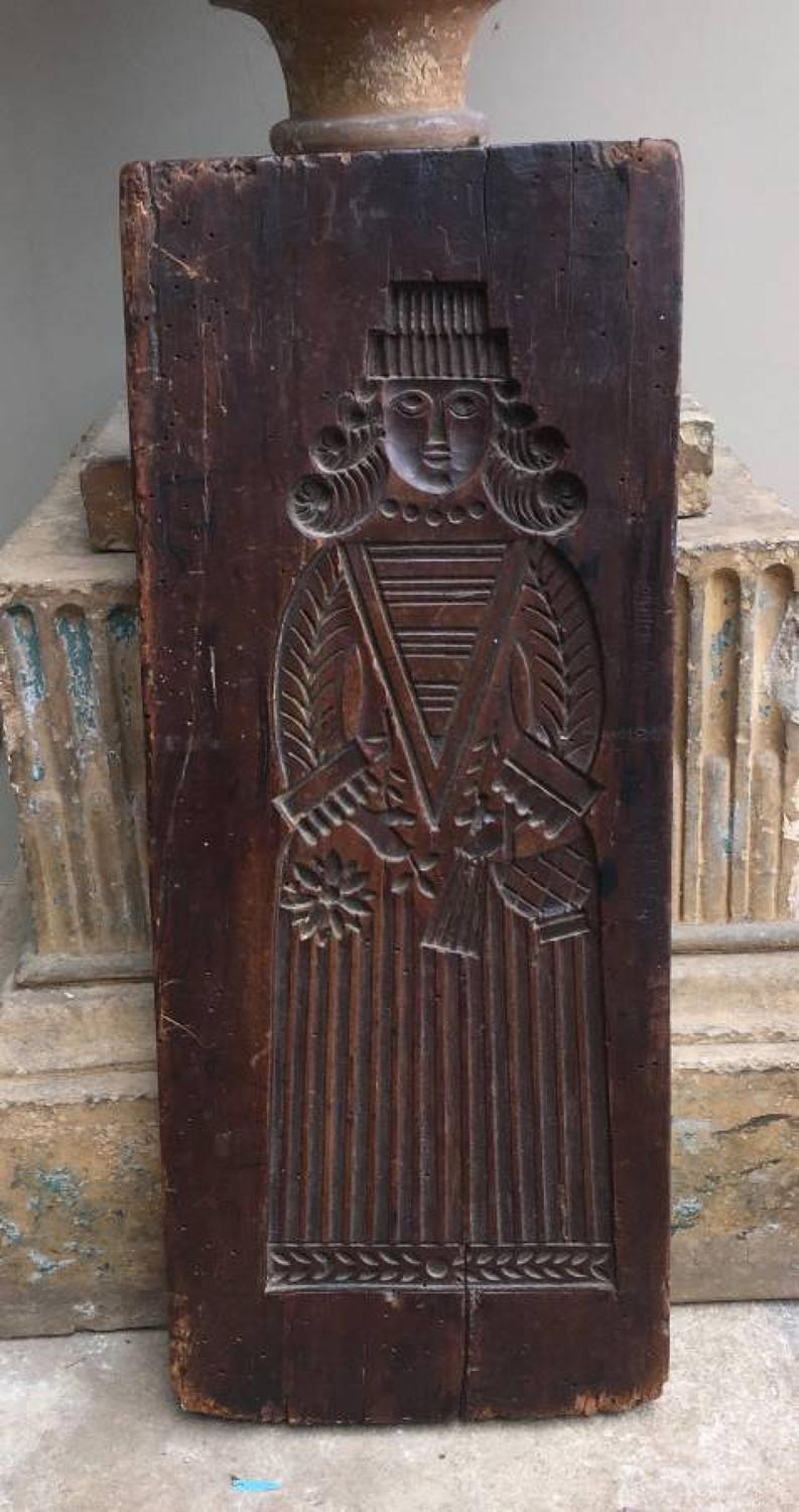 Large 18th Century Double Sided Treen Fruitwood Gingerbread Mould