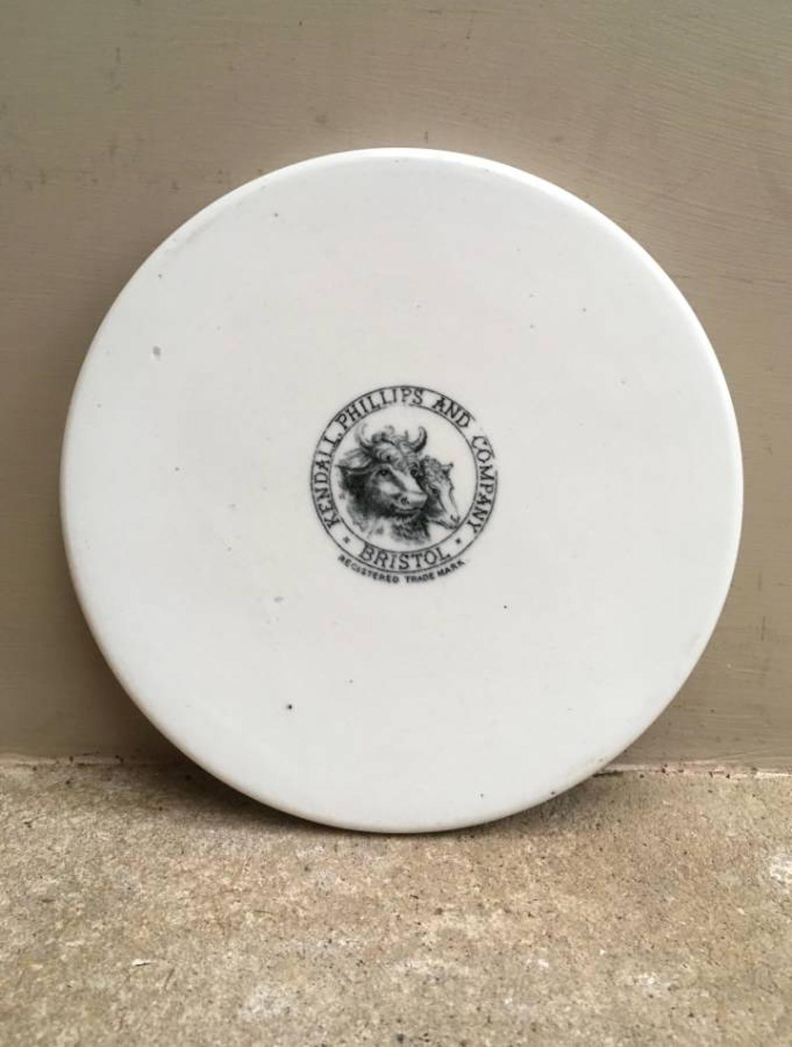 Rare Late Victorian Scale Plate - Kendall Phillips and Company - Cow &
