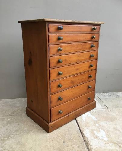 Late Victorian Pine Flight of Eight Collectors Drawers