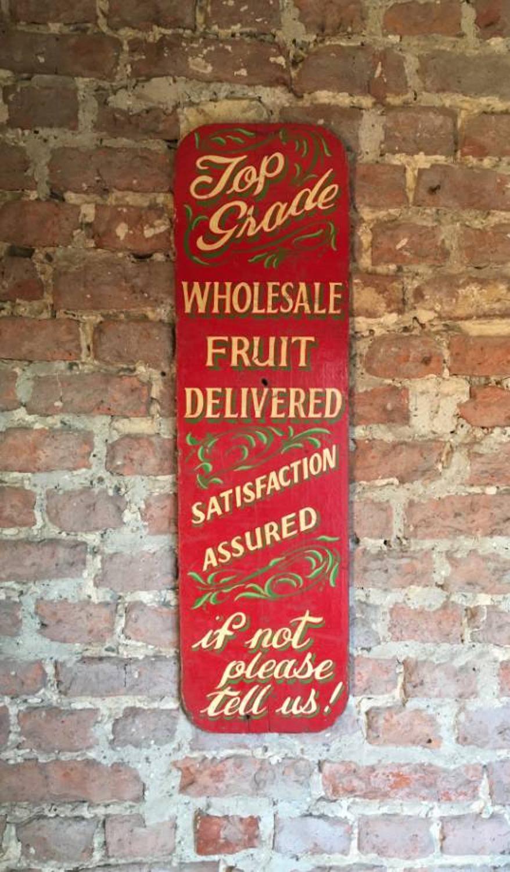 1920s Painted Pine Shop Sign - Top Grade Wholesale Fruit Delivered