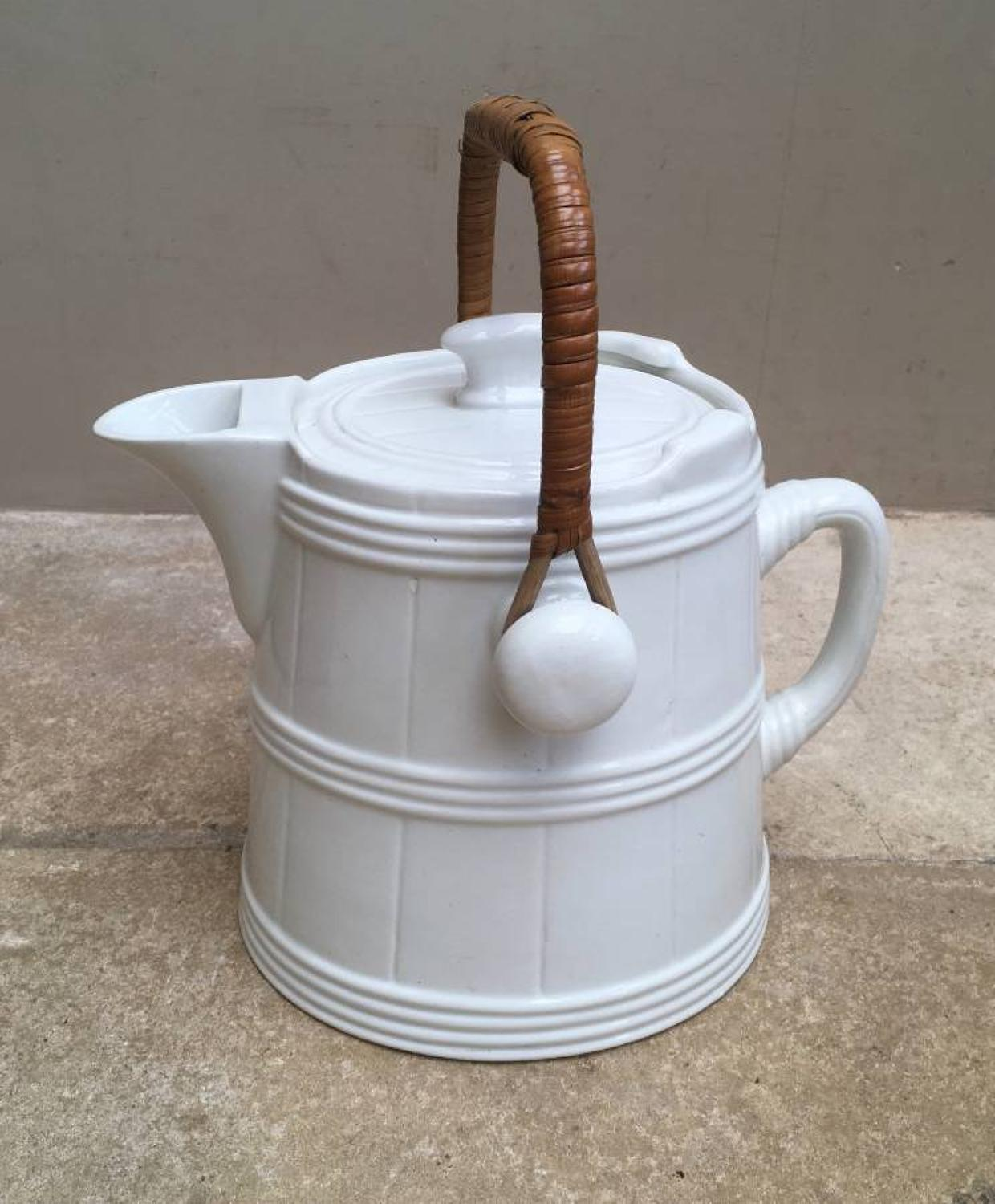 Edwardian White Banded Hot Water Jug with Handle