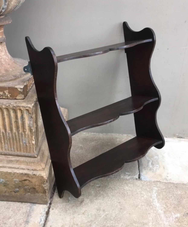 Early Victorian Small Pretty Shaped Mahogany Shelves