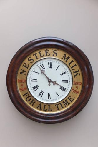 Rare Edwardian Toleware Advertising Clock - Nestle Milk
