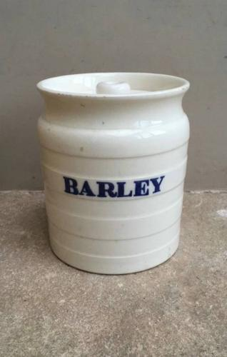 Late Victorian White Banded Kitchen Storage Jar - Barley - Rarer Blue
