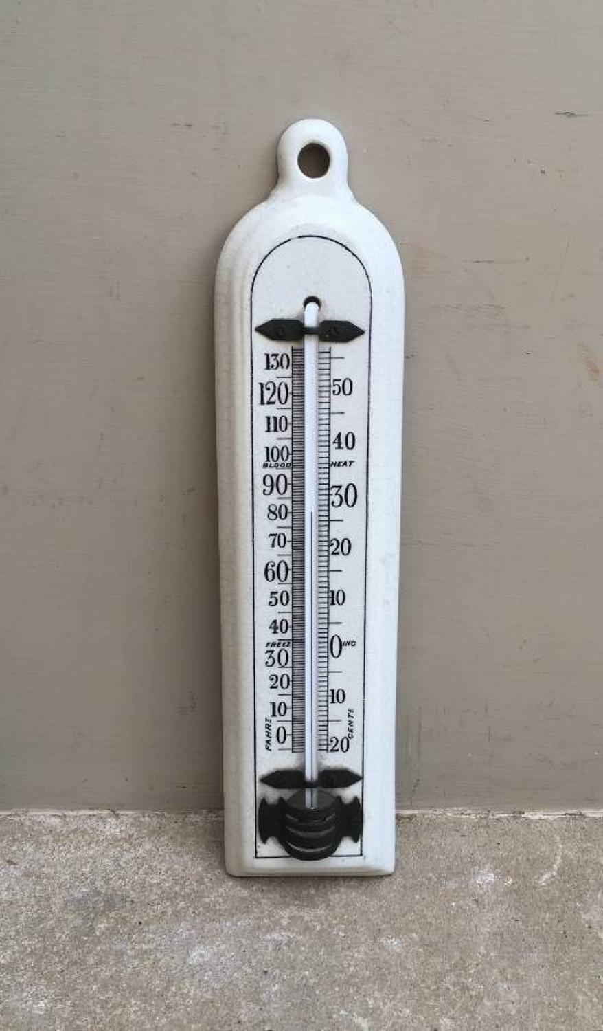 Edwardian White Ironstone Household Thermometer