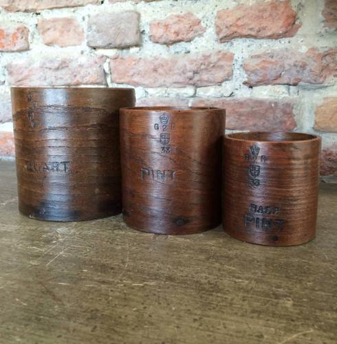 1920s Treen Set of Grain Measures - Quart, Pint & Half Pint