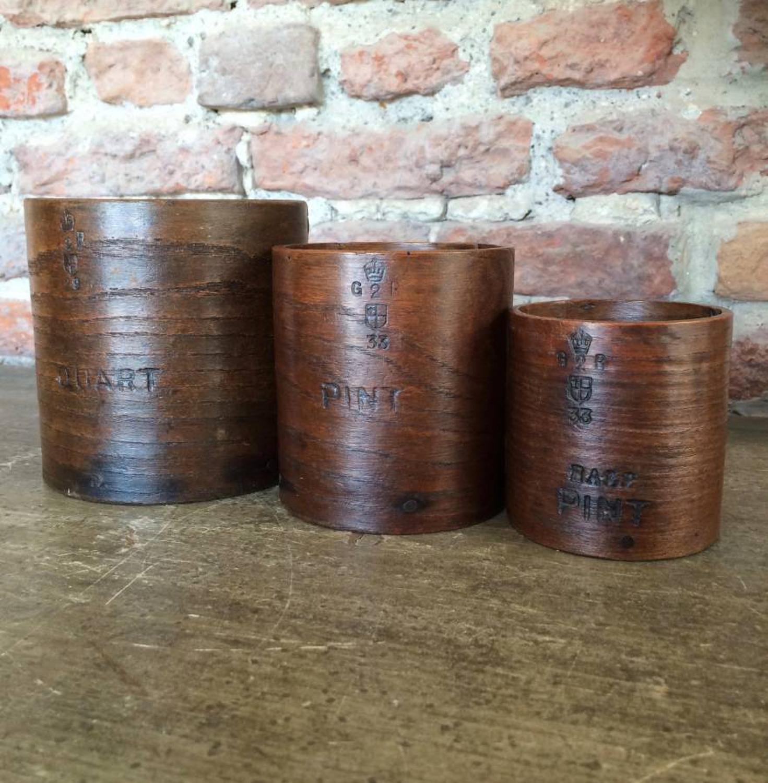 1920s Treen Set of Grain Measures - Quart, Pint & Half Pint
