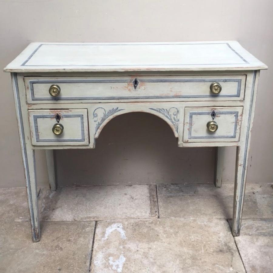 Victorian Painted Pine Side Table - Dressing Table - Small Desk