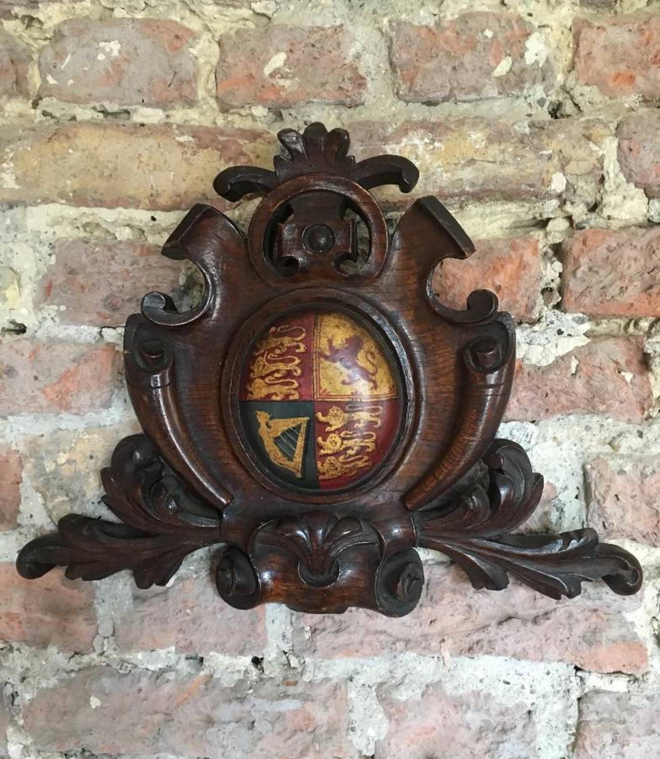 Victorian Carved Oak Armorial with Central Painted Crest