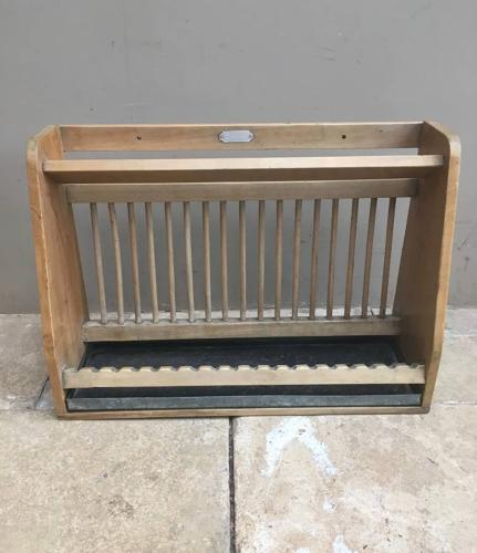 Early 20th Century Plate Rack with Original Galvanised Drip Tray