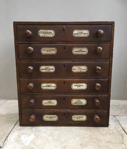 Victorian Pine Flight of Six Chemists Drawers - Completely Original