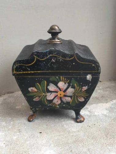 Early Victorian Small Toleware Floral Front Caddy