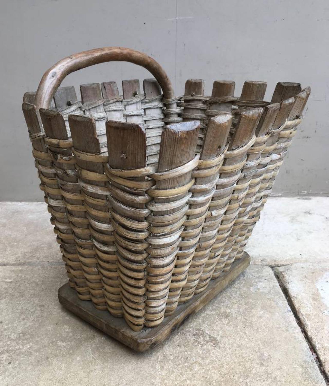 Late Victorian Pine Slatted Fruit Picking Basket