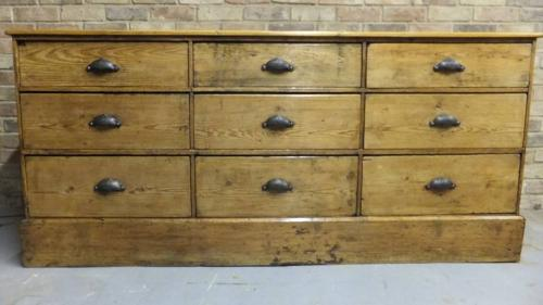 Victorian Pine Nine Drawer Base - Shop Counter