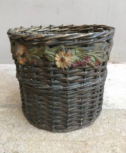 1930s Waste Basket with Gesso Floral Banding & Pine Base