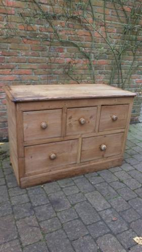 Edwardian Pine Base with Five Drawers