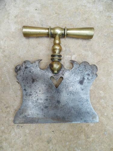 18thC Georgian Brass & Steel Herb Chopper with Heart