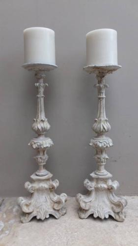 Pair of Victorian Carved & Limed Beech Candlesticks