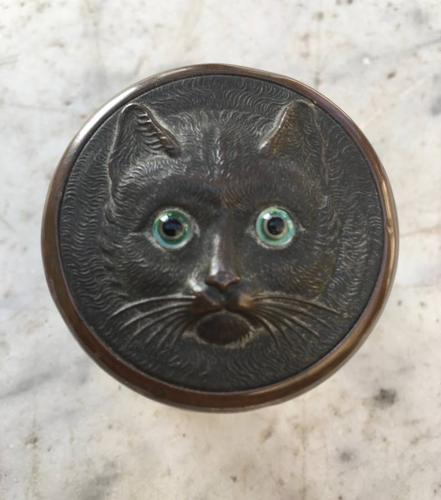 1920s Jar with Glass Eyed Cat`s Head Lid