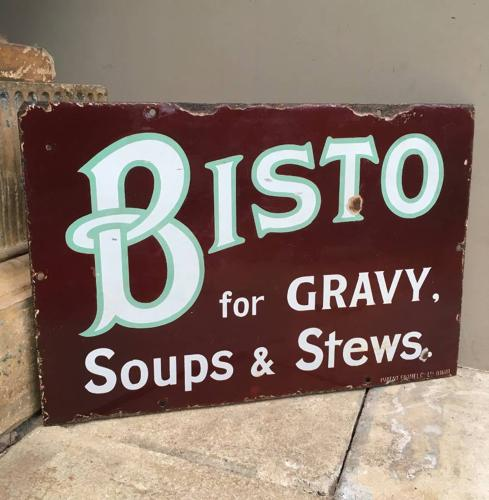Early 20th Century Enamel Advertising Sign - Bisto for  Gravy Soups &