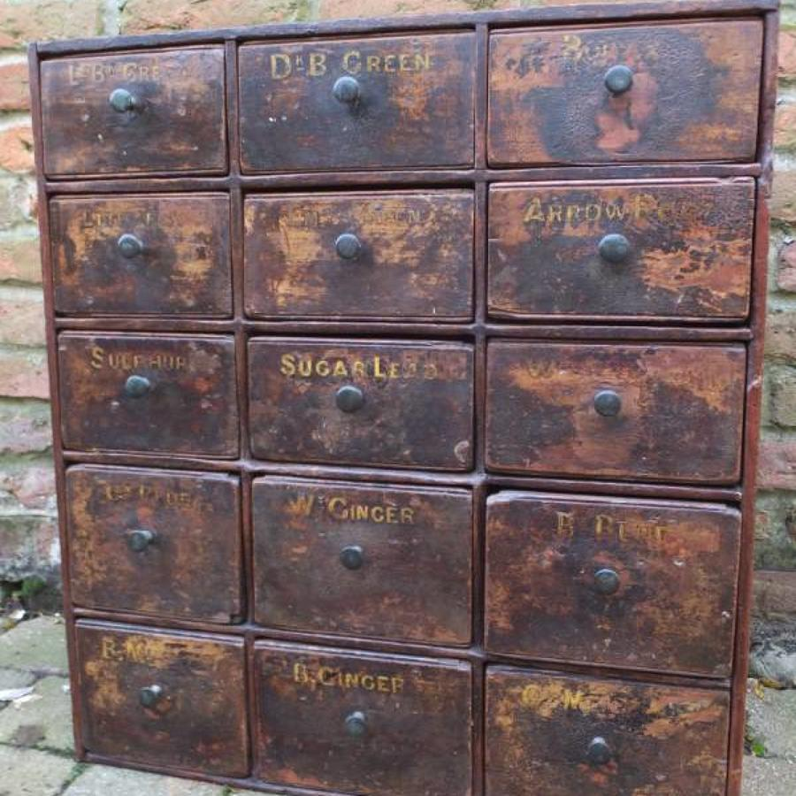 Superb Victorian Pine Bank of Drawers - Complete Original Finish