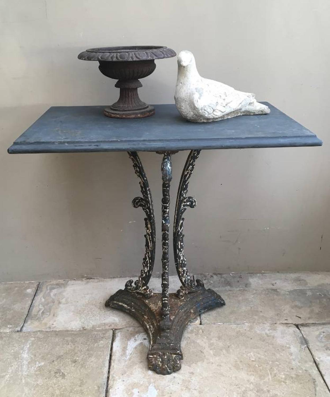 Late Victorian Cast Iron Slate Top Orangerie Table