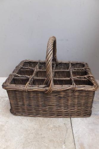 Superb Large Antique English Bottle Basket c.1920